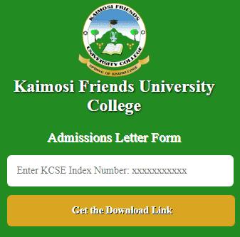 Kafuco Admissions Letter Form online