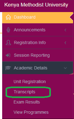 How to check KEMU Academic Transcripts