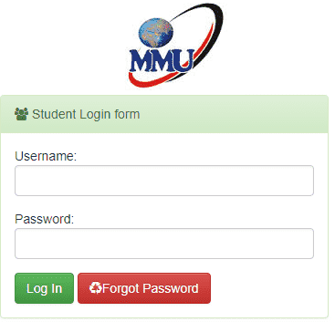 Multimedia University of Kenya Student Portal Login Form