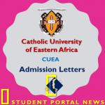 Catholic University of Eastern Africa (CUEA) Admission Letters 2019