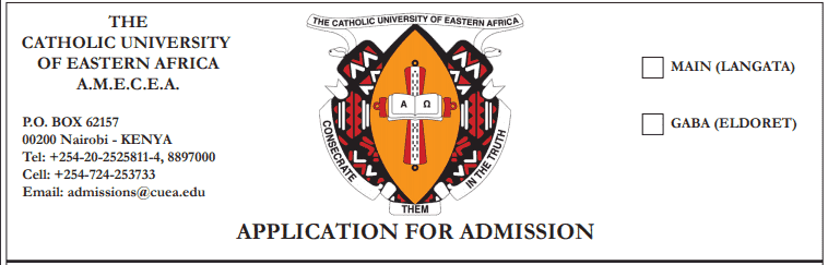 Catholic University of Eastern Africa (CUEA) Intake 2020