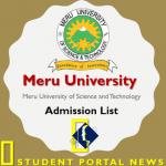 Meru University Admission List 2019/2020